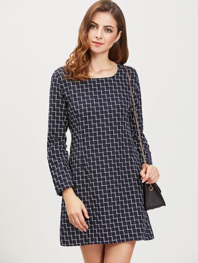Navy Grid Zipper Back Long Sleeve Dress
