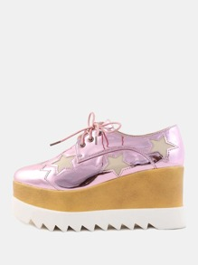 Metallic Wedge Star Sneakers PINK
