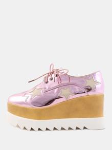Metallic Wedge Star Sneakers PINK