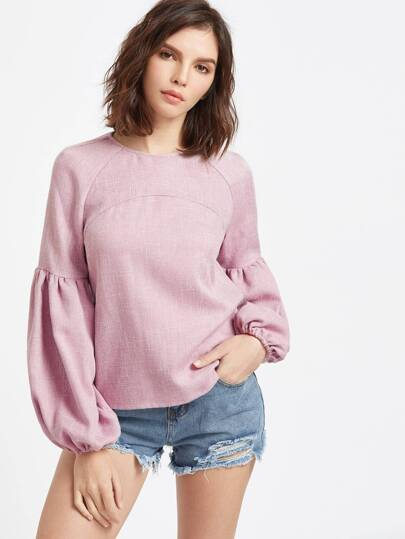 Buttoned Keyhole Back Lantern Sleeve Top