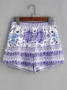 Bleu et blanc Vintage Print taille élastique Shorts