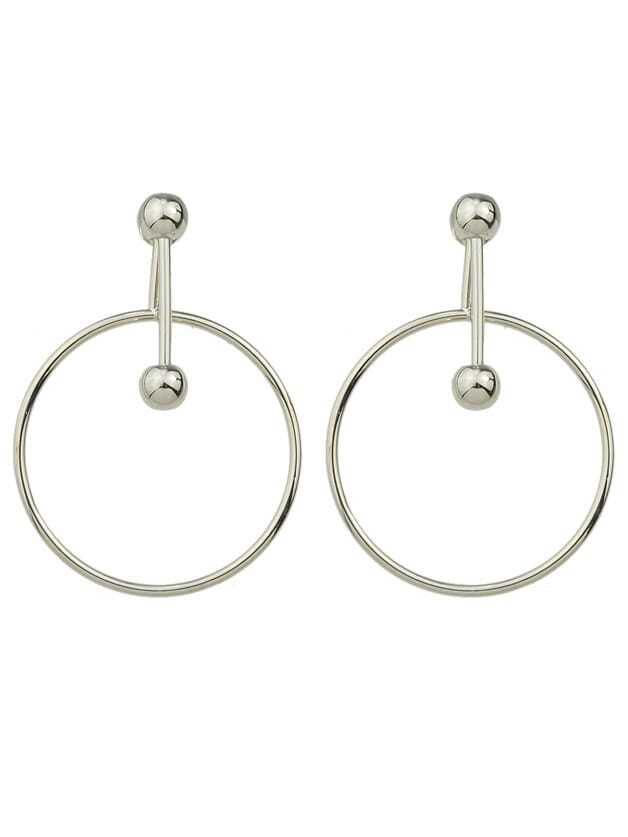 Фото Punk Rock Silver Color Big Circle Dangle Earrings. Купить с доставкой