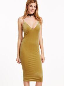Mustard Deep V Neck Velvet Cami Dress
