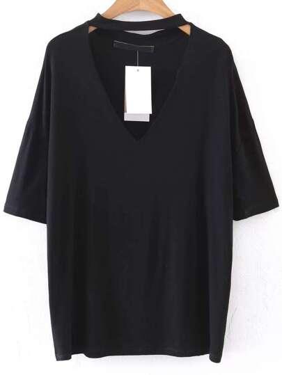 Black Choker V Neck Drop Shoulder T-Shirt