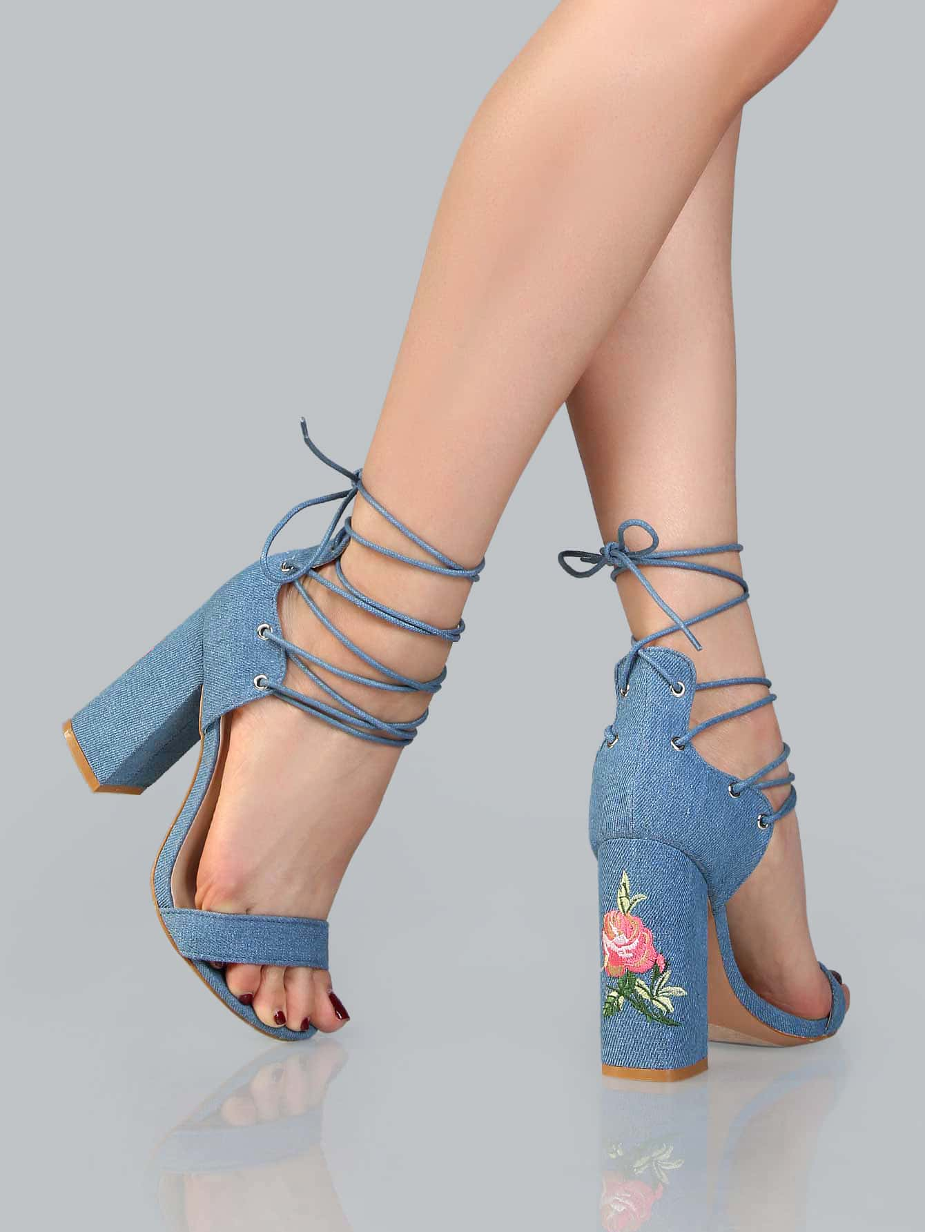 Floral embroidered denim lace up heels denim sheinsheinside ccuart Image collections