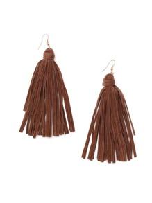 Brown Suede Tassel Earrings