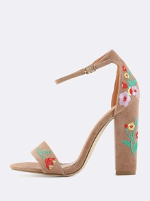 Floral Embroidered Chunky Heels TAUPE
