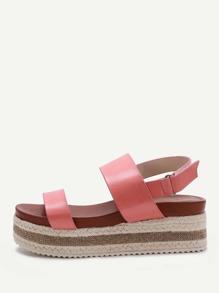 Pink Sparkle Strappy Espadrille Flatform Sandals
