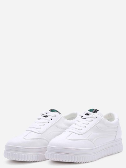 White Round Toe Lace Up Sneaker