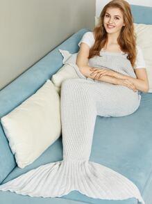 Grey Waffle Knit Mermaid Tail Blanket