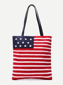 American Flag Pattern PU Tote Bag