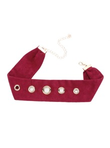 Red Metal Eyelet Detail Suede Choker