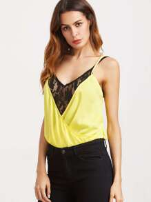 Contrast Mixed Media Surplice Cami Set