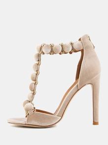 Open Toe Pom Pom Stiletto Heels CHAMPAGNE