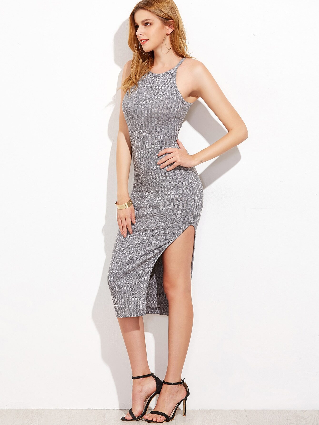 Heather Grey Side Slit Ribbed Cami Dress dress161118726
