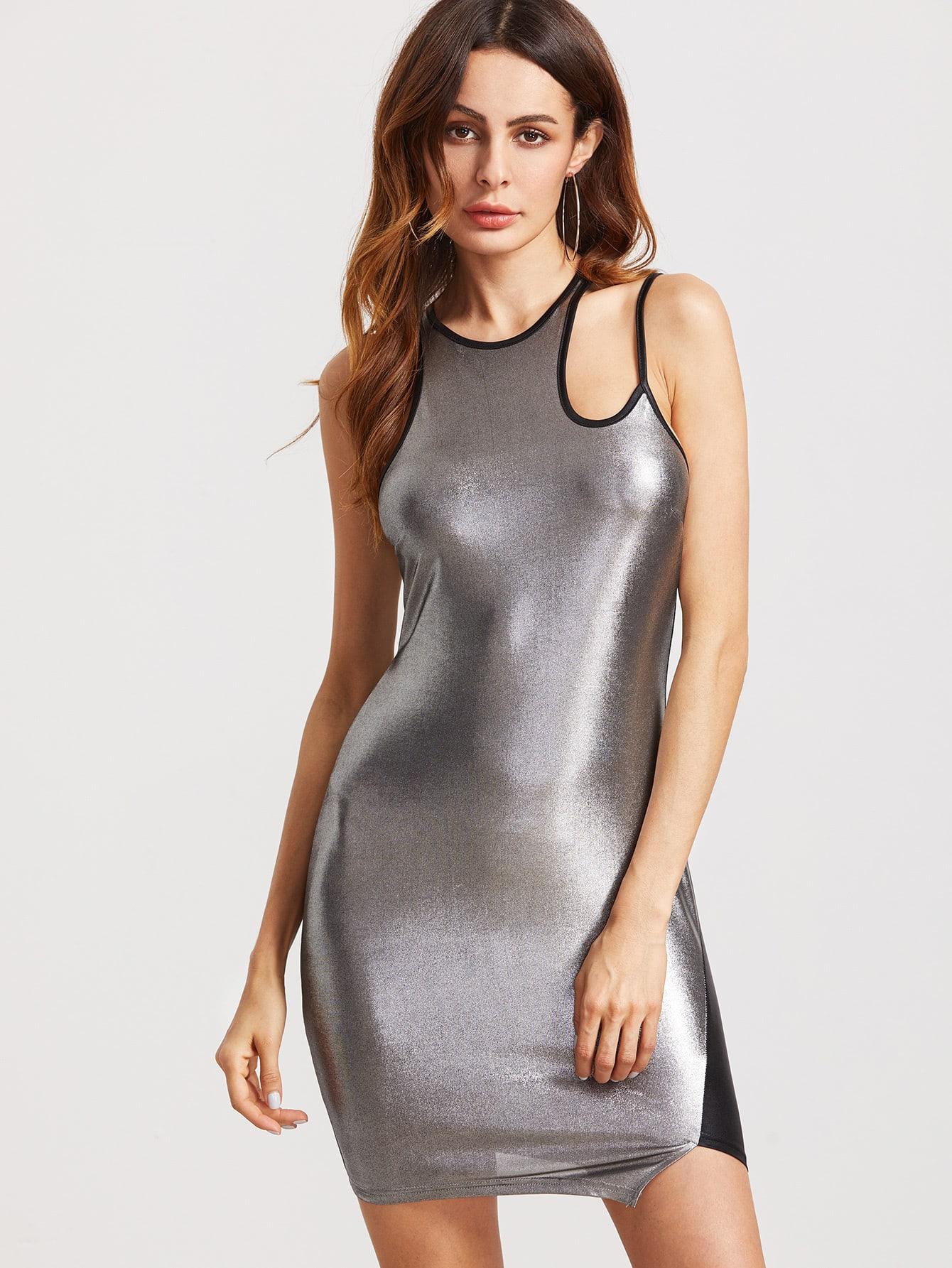 Фото Metallic Silver Contrast Panel Cutout Shoulder Bodycon Dress. Купить с доставкой
