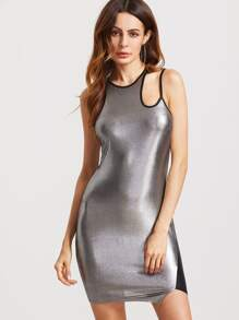 Metallic Silver Contrast Panel Cutout Shoulder Bodycon Dress
