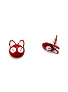 Red Enamel Cat Ear Studs
