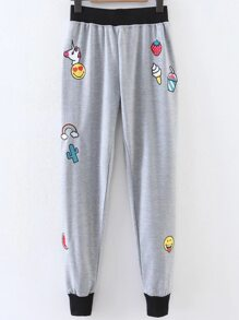 Grey Cartoon Print Contrast Trim Pants