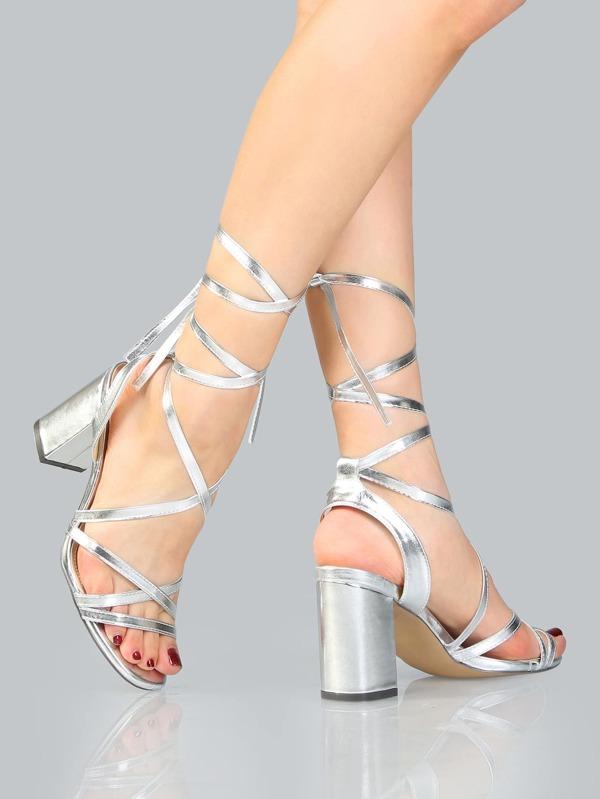 Open Toe Metallic Lace Up Heels SILVER -SheIn(Sheinside)