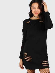 Black Long Sleeve Distressed Tee Dress