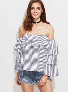 Off The Shoulder Ruffle Tiered Striped Top