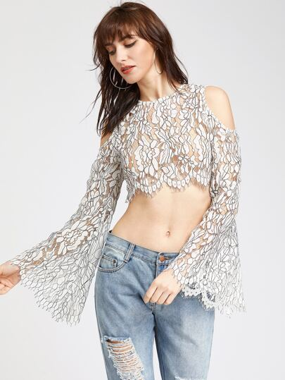 White Cold Shoulder Bell Sleeve Floral Lace Top