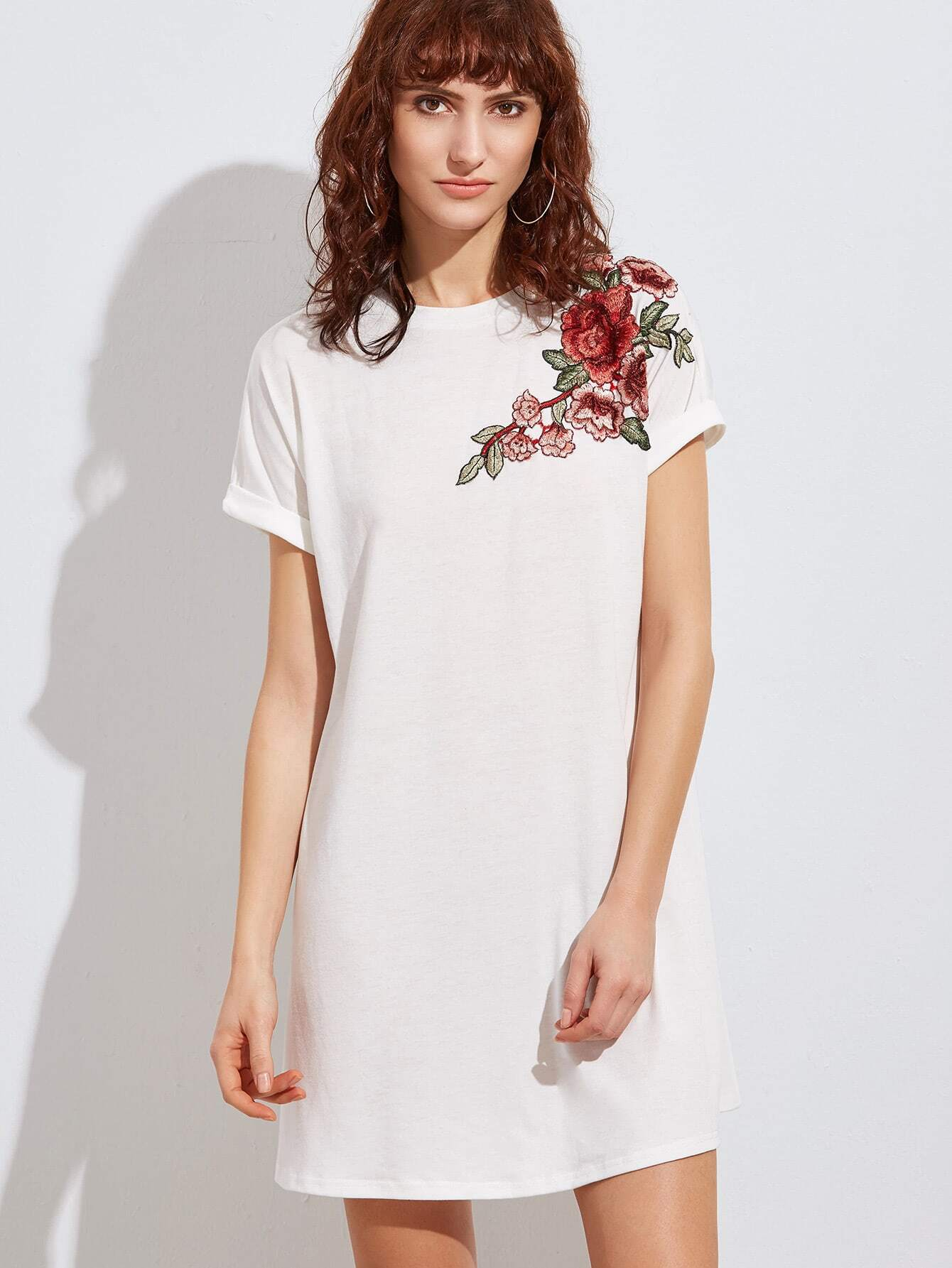 Фото Embroidered Flower Applique Swing Tee Dress. Купить с доставкой