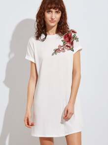 White Embroidered Flower Applique Swing Tee Dress