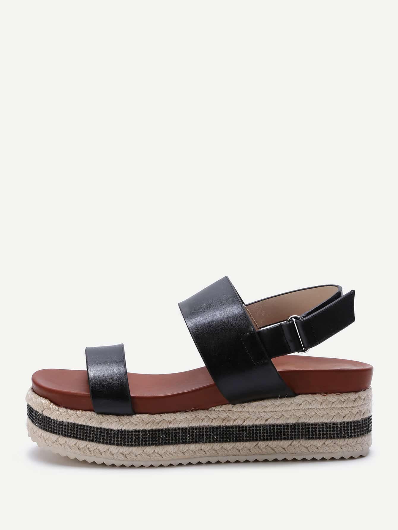 Фото Sparkle Strappy Espadrille Flatform Sandals. Купить с доставкой