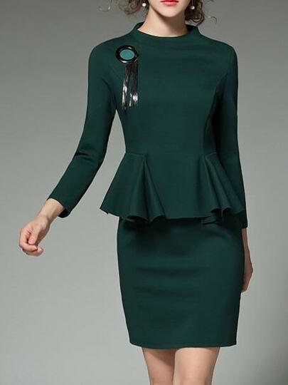 Green Fringe Peplum Sheath Dress