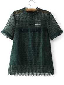 Dark Green Crochet Design Hollow Out Top