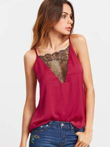 Lace Patchwork Hollow Back Cami Top