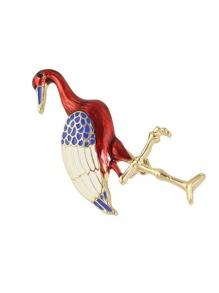 Broche en forme d'oiseau large en émail coloré