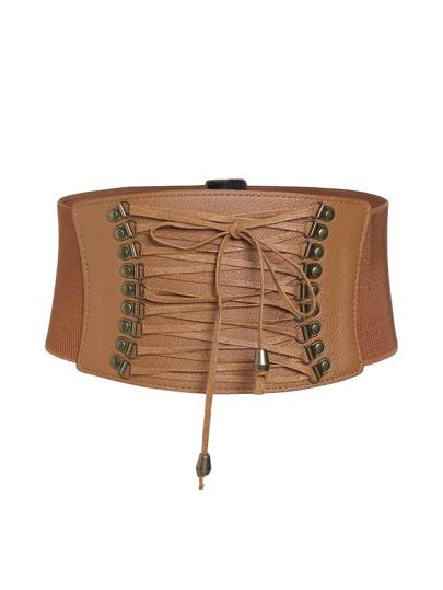 Camel Lace Up Corset Belt