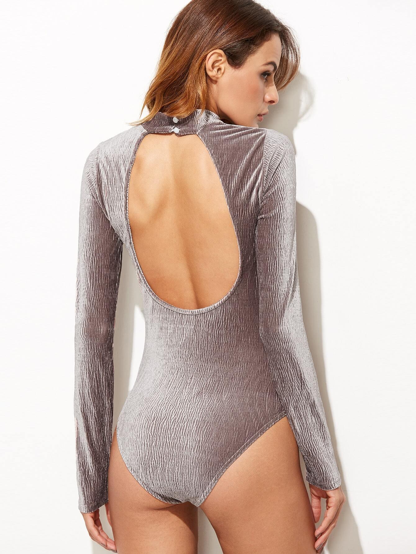Фото Brown Mock Neck Cutout Back Textured Bodysuit. Купить с доставкой