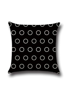 Black Polka Dot Print Pillowcase Cover
