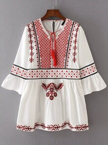 White Embroidery Bell Sleeve Dress With Tassel Tie