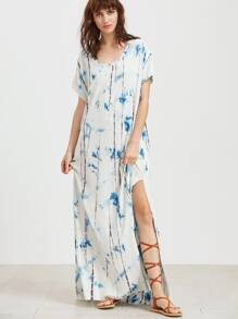 White Tie Dye Print Short Sleeve Long Tee Dress