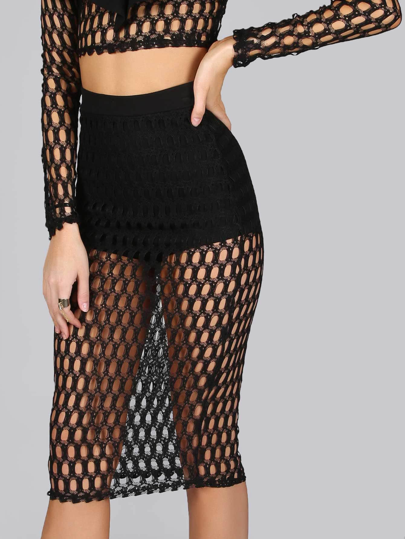 Netted Midi Skirt BLACK