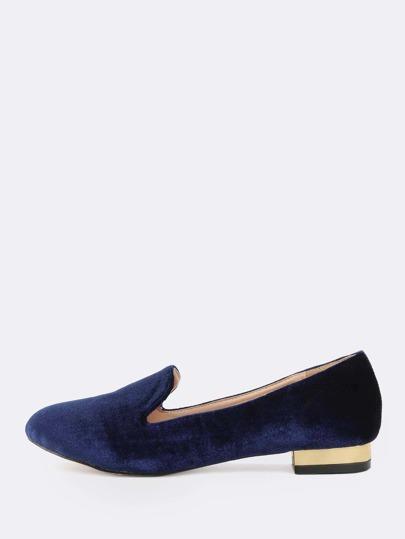 Almond Toe Velvet Loafers BLUE