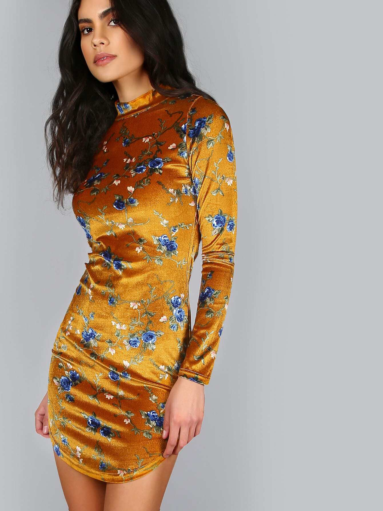 Yellow Floral Print Mock Neck Long Sleeve Bodycon DressYellow Floral Print Mock Neck Long Sleeve Bodycon Dress<br><br>color: Yellow<br>size: L,M,S,XS