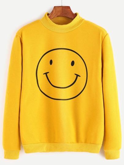 Yellow Ribbed Trim Smiley Face Print Sweatshirt