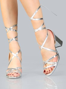 Open Toe Metallic Lace Up Heels SILVER