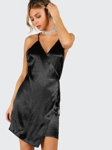 Black Surplice Wrap Crisscross Back Asymmetric Cami Dress