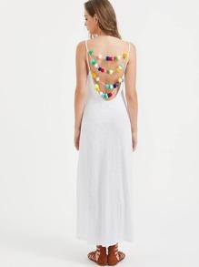 Vestido espalda redonda con pompones - blanco