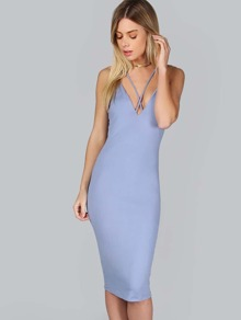 Classic Formfitting Strappy Dress BLUE