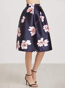 Navy stampa floreale Flare Skirt