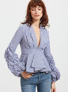Blue Striped Deep V Neck Lantern Sleeve Box Pleated Peplum Top