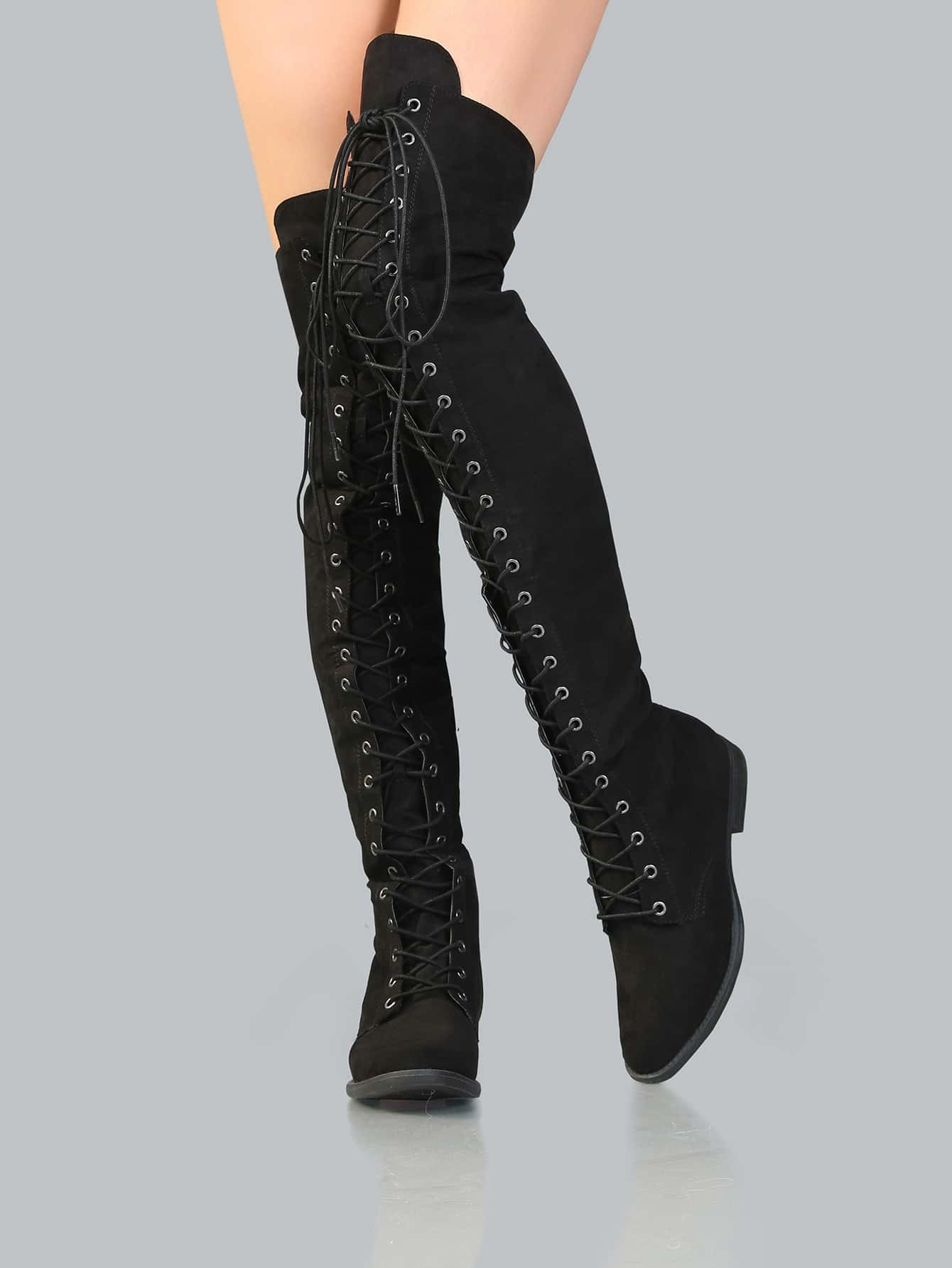 Lace Up Flat Suede Boots BLACK -SheIn(Sheinside)